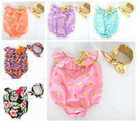 Wholesale newborn clothes baby summer romper girls gold polka dot onesies headbands infant floral flower petti rompers sets kids one piece bodysuit