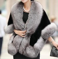 Wholesale 2014 Winter Leather grass fox fur mink rabbit fur poncho cape bridal wedding dress shawl cape women vest fur coat