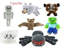 Wholesale 7pcs styles Minecraft plush toy dolls minecraft stuffed animal toys spider skeleton wolf bat zombie brown cow birthday gifts
