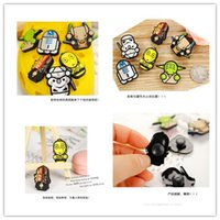decorative buttons - 2016 DIY Cartoon Star Wars Decal Sticker Black Knight Darth Vader Yoda Minifigure Decorative Shoes Button Stickers