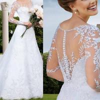 2015 exquisitos vestidos de encaje de la boda A-Line Scoop Apliques de manga larga de encaje hasta vestidos de novia de la cola larga Vestidos De Noiva