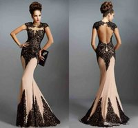 Cheap Backless Evening Dresses with Cap Sleeve Mermaid Prom 2015 Open Back Hollow Champagne Evening Gowns with Black Appliques Custom