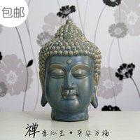 Wholesale Soft living room table decoration home decorations office furnishings ceramic statues of Chinese Zen Buddhism head ornaments