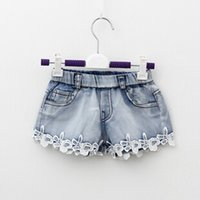 Wholesale 2015 high qualtiy lace decoration denim hot pants girls in summer short pants