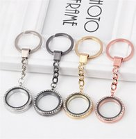 Cheap 30MM Round-shaped Crystal Pendant Locket Key Chains Silver Plated Magnetic Glass Living Floating Charms Locket Keychain Fine Jewelry DCBJ587