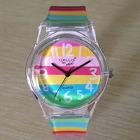 Cheap Wholesale-willis 6018 Round Shaped Silver Watch Dial Colorful Rainbow Plastic Cement Watchband Women's and Kid's Wrist Watch