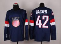 Cheap 2014 Sochi Olympic Team USA Hockey Jersey #42 David Backes Navy Blue Ice Hockey Jerseys