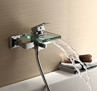 Wholesale Wall Mounted Square Glass Spout Bathroom Chrome Tap Sink Bathtub Waterfall Faucet DS