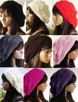 Wholesale 2015 Beret Braided Baggy Beanie Crochet Hat Ski Cap Women Lady hats