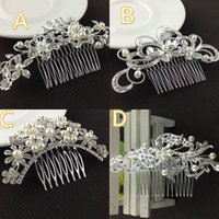 Wholesale Stock Floral Hair Combs For Wedding Hair accessories Crystals Pearl Headpieces Tiaras Crowns Bridal Clips