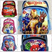 Biancaneve congelato Iron Man Spiderman Auto-PLEX Borse scuola per ragazze bambini dei capretti Scuola regalo di compleanno Zaini LJJH256 10PCS