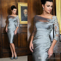 Wholesale 2016 Silver Knee length Sheath Mother of the Bride Dresses Off shoulder Lace Long Sleeves Evening Gowns