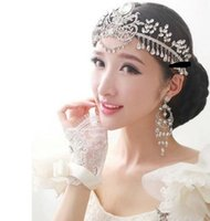 Wholesale Luxury Fashion Wedding Bridal Silver Crystal Rhinestone Headband Hair Accessories Princess Tiara Forehead pieces Comb Earrings Jewelry Set