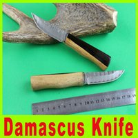 multi-tools and knives - 201411 Damascus fruit knife Black and white sandalwood handle with leather Scabbard Multi function knife Camping Tactical Tools X