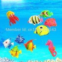 venda por atacado aquarium fish marine-Fantasia 10Pcs/lot Tropical Marinho, Simulação, Emulação de Plástico coloridos do Aquário dos Peixes Decoração Frete Grátis ordem de us$18no pista