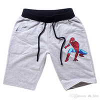 Wholesale Spiderman Marvel Movies Summer Boy Shorts Boys Mid Straight Casual Elastic Waist Shorts Boys Cotton Shorts Infantil Children Blue Grey Black