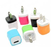 Wholesale Hot Colorful USB Home AC Power Adapter Travel Charger US Plug Wall Charger Charging For iPhone iPad iPod Samsung HTC Huawei