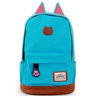 Wholesale 2015 New Hotsale Women Cartoon Cat Ear Shoulder Bag Backpack Schoolbag Canvas Backpacks Travel Hiking Bags Animal Prints backpack