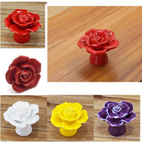 Wholesale 100 Brand New And Good Quality Rose Ceramic Kitchen Cupboard Door Drawer Flower Knob Handle Home Decration