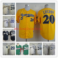 baseball strips - Brewers Baseball Jerseys Men LUCROY White Grey Strip Black Yellow gREEN Blue Jerseys stitched Top quality Mix Order Free Fast Shipping