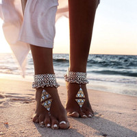 Wholesale WishCart Fashion Multilayer Slave Tassel Anklet Chain Barefoot Beach Sandle Foot Silver Ankle Bells Jewelry Anklets