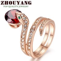 Wholesale Top Quality ZYR150 Snake Show Bead Ring K Gold Plated Austrian Crystals Full Sizes