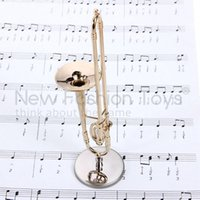 Wholesale Hot Figure Toys Model Gilded Trombone Mini Musical Instrument Leather Box