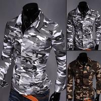 Cheap New Spring 2015 Fashion Camouflage leisure denim shirt man thin coat male coat men's long sleeve shirt