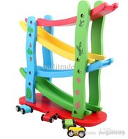wooden coaster - children s toys wooden roller coasters four layers gliding car toy slide block