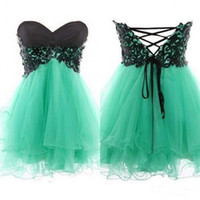 Wholesale Cheap Turquoise Lace Dresses - 2015 Short Prom Dresses Black Lace Appliques Beaded Mini Party Gowns Sweetheart Empire Lace up Back Turquoise Tulle Custom Made Cheap Dress