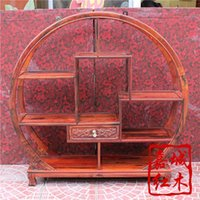 Wholesale Laos red rosewood round high grade small Shelf Cochin rosewood wood curio shelf teapot ornaments frame