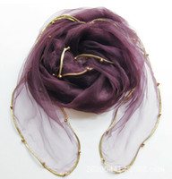 beaded scarves - The new solid color gold organza beaded package edge summer sun Scarves women size cm