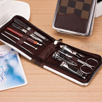 Wholesale Stainless steel fashion brand quality nail clippers Manicure sets nail tools zipper case package beauty pieces kit clipper set