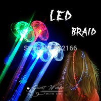 Wholesale Hot sale Freeshipping Colorful glowing LED Braid Novelty Decoration for Party Holiday Hair Extension by optical fiber