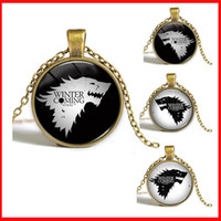 animals song - Song of Ice and Fire Game of Thrones Glass Cabochon necklace time gem wolf pendant necklaces gold silver charm statement jewelry