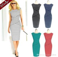 club wear dress - New Plus Size Women Elegant New Summer Colorblock Striped Tunic Wear Work Business Party Cocktail Pencil Sheath Club Bodycon Dress OXL072903