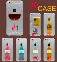 Wholesale Flow Liquid D Wine Cup Liquid Transparent Hard Case Cover For iPhone plus Galaxy S7 Cases Flowing Wine Back Covers