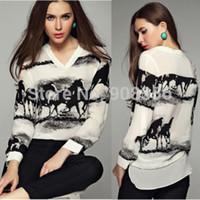Wholesale S XXXL XXXXL XL Plus Size New Horse Printed Vintage blouse Long Sleeve White Shirt Women Tops Blusas Chiffon Blouse C1087