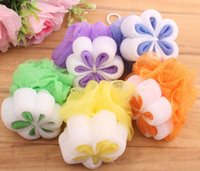Wholesale Multicolors body brush flower Bath Shower Body Bubble Exfoliate body Puff Bathing Sponge Mesh Net Ball