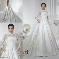 Cheap New Vintage Wedding Dresses A-Line with Detachable Jacket Pocket Chapel Train Covered Button 2016 Plus Size Fall Winter Bridal Wedding Gowns