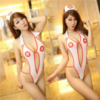 Wholesale Ladies Open Front Sexy Costumes Nurse Suit Sexy Lingerie Backless Costume Nurse Suit Sexy Dress Hat Cheap Sexy Women Underwear