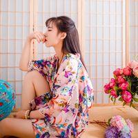 silk robe - Wedding Summer Style Bathrobe Silk Robes For Women Womens Pijamas Print Flower Pink Color Short Sleeve Kimono Robe Silk Dressing Gowns