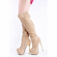 designer sheepskin boots - Nude Over the Knee Boots For Women Platforms Pumps Suede quot Boot Leg Metal Rivet Thin High Heel Shoes Women Boots New Arrival Designer