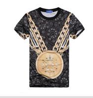 Men V-Neck EL Flashing Fashion 3D Print digital clock gold chain t shirt O-neck short sleeve men women T-shirt harajuku clothes plus size free shipping FG1510