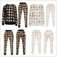 track suit - Emoji Joggers D Print Emoji outfit unisex Shirt Women Track suits Men Sports Suits Hip Hop fleece Pullover E437