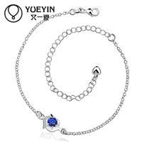 Wholesale 2015 Newest Trendy Foot Bracelets Sapphire Jewelry Sterling Silver Anklet Bracelets For Women Blue Crystal Ankle Bracelets