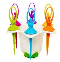 Wholesale ballet fruit fork set flower fairy fruit fork set series bright color fruit forks set food picks set