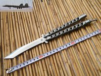 Wholesale Deluxe CM THE ONE Blackbird Balisong Butterfly knife whloe stainess steel Handle C Tanto blade Tactical knives