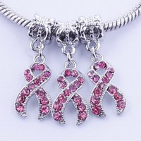 Wholesale 50pcs Pink Rhinestone Crystal Ribbon Breast Cancer Awareness K Plated Charms Big Hole Beads For Jewelry European Bracelets