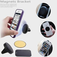 Wholesale Magnetic Bracket Universal Magnetic Car Air Vent Holder Outlet Mount For iPhone Samsung Cell Phone Mounts Holders DHL Free